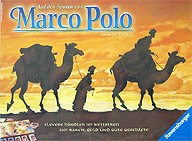 Brettspiele bei AEIOU.DE - Abbildung: Frontcover der Spielbox von Auf den Spuren von Marco Polo