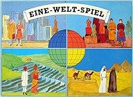 Brettspiele bei AEIOU.DE - Abbildung: Frontcover der Spielbox von Eine-Welt-Spiel