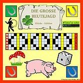 Brettspiele bei AEIOU.DE - Abbildung: Frontcover der Spielbox von Die große Beutejagd - Glücks Edition