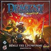 Brettspiele bei AEIOU.DE - Abbildung: Frontcover der Spielbox von Descent - Die Höhle des Lindwurms